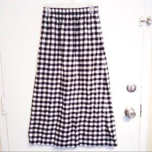 Black & White Plaid Flannel Maxi Midi Skirt